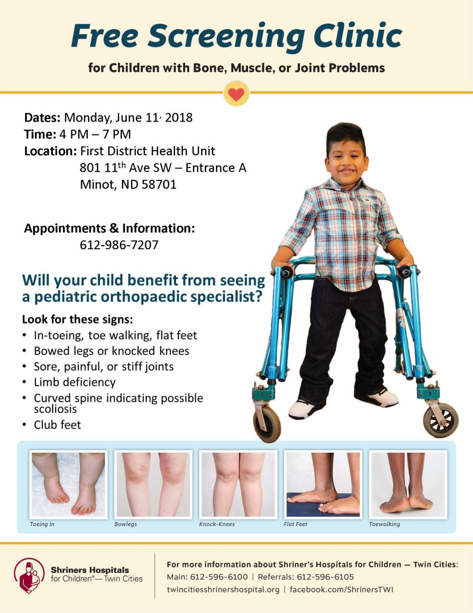 FREE Orthopedic Screening by Shriners Children's Hospital